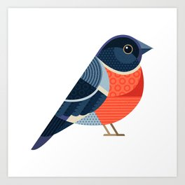 Funny Bullfinch. For Christmas decoration, posters, banners, sales and other winter events. Art Print