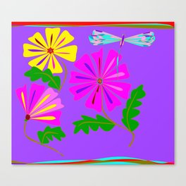 A Spring Floral Design with a Dragonfly Canvas Print