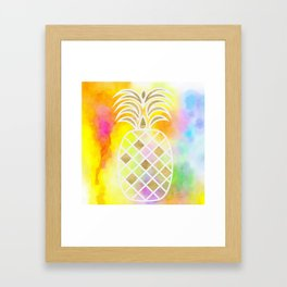 Watercolor and Gold Pineapple Framed Art Print