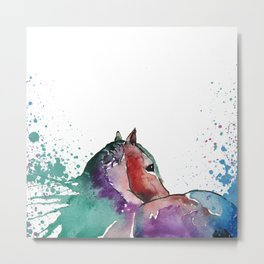 Watercolor Horse Metal Print