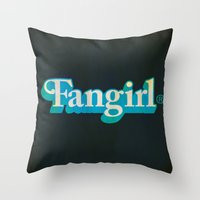 fangirl Throw Pillows featuring Fangirl by Aaron Synaptyx Fimister