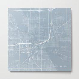 Des Moines Map, USA - Slate Metal Print