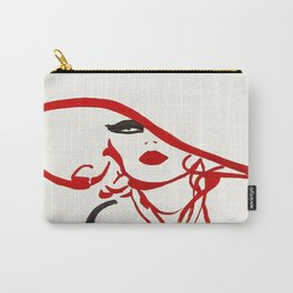 Red Hat Line Drawing Vintage Fashion Poster Carry-All Pouch