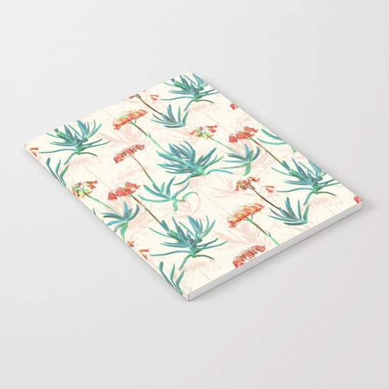 Flowering Succulent Pattern in Cream, Coral and Green Notebook