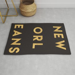 NEW ORLEANS LOUISIANA GOLD CITY TYPOGRAPHY Rug