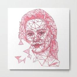 Brie Larson Fracture Drawing Metal Print