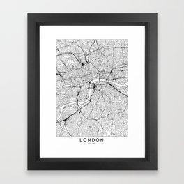 London White Map Framed Art Print