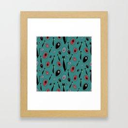 Mid-Century Modern Art Atomic Cats 1.3 Teal Pattern Framed Art Print