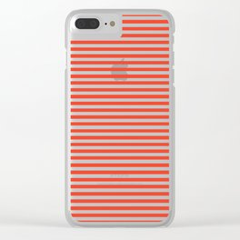 Red and White Vintage Thin Stripes Clear iPhone Case