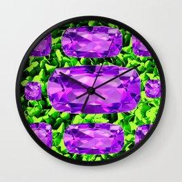 PURPLE AMETHYST FEBRUARY BIRTHSTONE GREEN ART Wall Clock