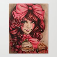 strawberry Canvas Prints featuring Strawberry  by Sheena Pike ART