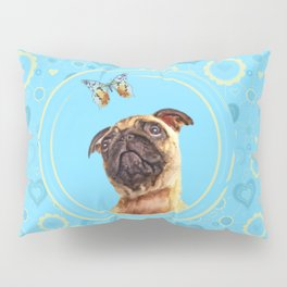 Cute Pug puppy and Butterfly Pillow Sham
