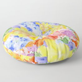 Modern whimsical pink purple yellow hand painted watercolor Floor Pillow