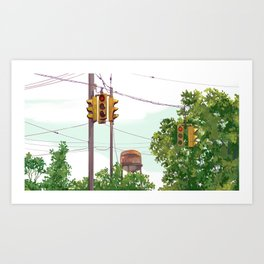 Walking the whole darn city Art Print
