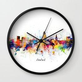 cleveland skyline artistic Wall Clock