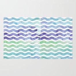 Modern teal blue watercolor hand painted waves Rug