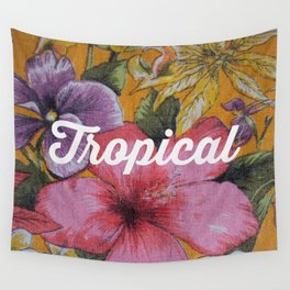 Vintage Tropical (pink) Wall Tapestry