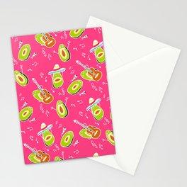 Funny summer modern avocado guacamole cartoon music band pattern illustration Stationery Cards