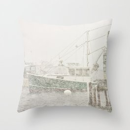 Bass Harbor in Heavy Snowstorm, Mount Desert Island, Maine Throw Pillow