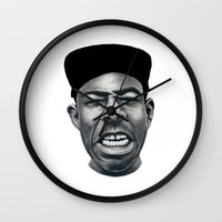 tyler the creator Wall Clocks featuring IFHY (Tyler the creator) by Black Neon