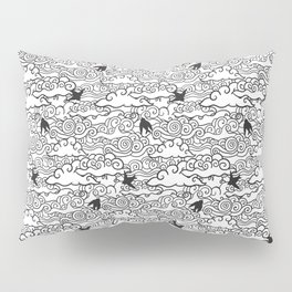 Doodle clouds and swallows. Cloudscape pattern with birds. Pillow Sham