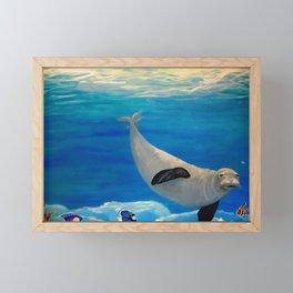 Sea Lion Swimming in Ocean Framed Mini Art Print