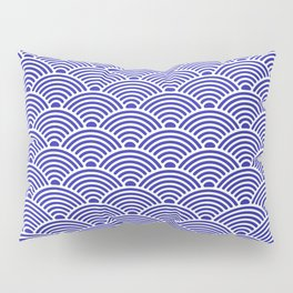 Japanese Waves (White & Navy Blue Pattern) Pillow Sham