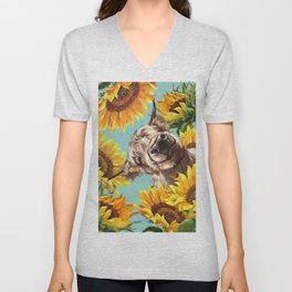 Highland Cow with Sunflowers in Blue Unisex V-Neck