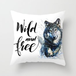 Wolf Wild and Free Throw Pillow