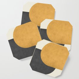 Halfmoon Colorblock - Gold Charcoal Coaster