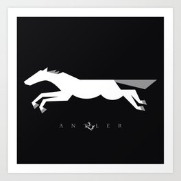 Graphic Horse Black and Grey Art Print
