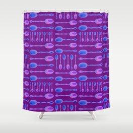 Unique Artsy Spoons! (Bright Purple) Shower Curtain