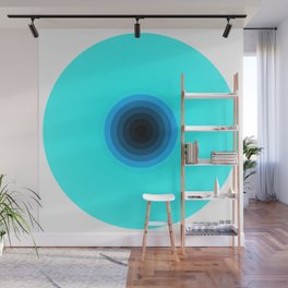 2020 Vision Concentric rings Cyan Blue Black gradient Wall Mural