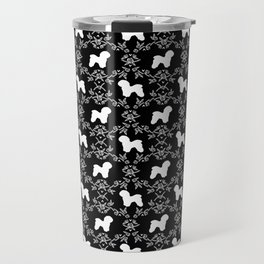 Bichon Frise dog florals silhouette black and white minimal pet art dog breeds silhouettes Travel Mug
