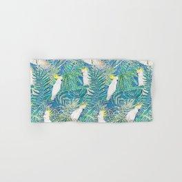 cockatoos playing around in a tropical garden watercolor Hand & Bath Towel