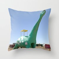 dino Throw Pillows featuring dino by Natalie Jeffcott