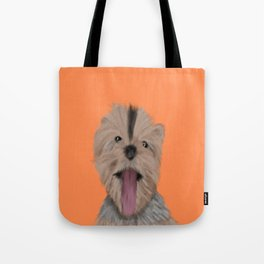 Luna The Yorkie With Her Tongue Hanging Out Tote Bag