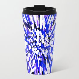 Dahlia Explosion Abstract Blue Travel Mug