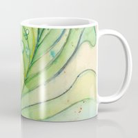 peacock feather Mugs featuring Peacock Feather by Olechka