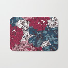 Beautiful floral design with hand drawn petunias Bath Mat