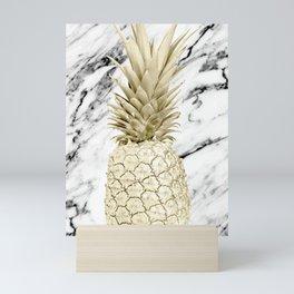 Rose Gold Pineapple Surprise on Simply Marble Mini Art Print