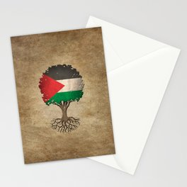 Vintage Tree of Life with Flag of Palestine Stationery Cards