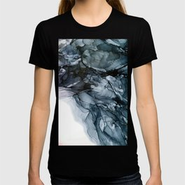 Dark Payne's Grey Flowing Abstract Painting T-shirt