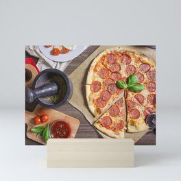 Preparing Salami Pizza Mini Art Print