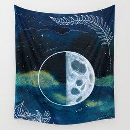 Quarter Moon Original Mixed Media Painting Wall Tapestry