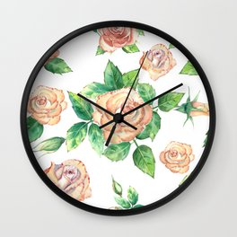 Peach Roses Neck Gator Peach Rose Wall Clock