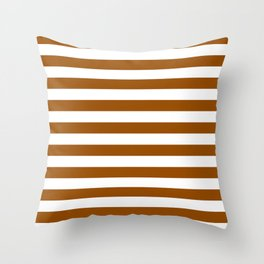 Narrow Horizontal Stripes - White and Brown Throw Pillow