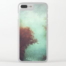 Copper Trees and River in Mist Clear iPhone Case