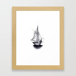 Sailboat Handmade Drawing, Art Sketch, Barca a Vela, Illustration Framed Art Print