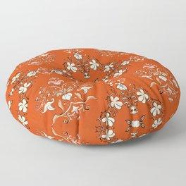 Vintage Floral - Rust Orange Floor Pillow